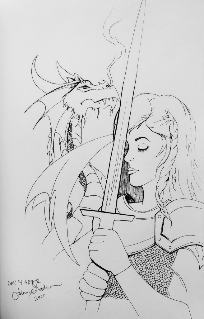 Inktober Day 14 Armor ink drawing of female knight and dragon by alecia goodman copyright 2020 present