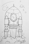 Inktober Day 16 Rocket taking off ink drawing alecia goodman 2020 to present