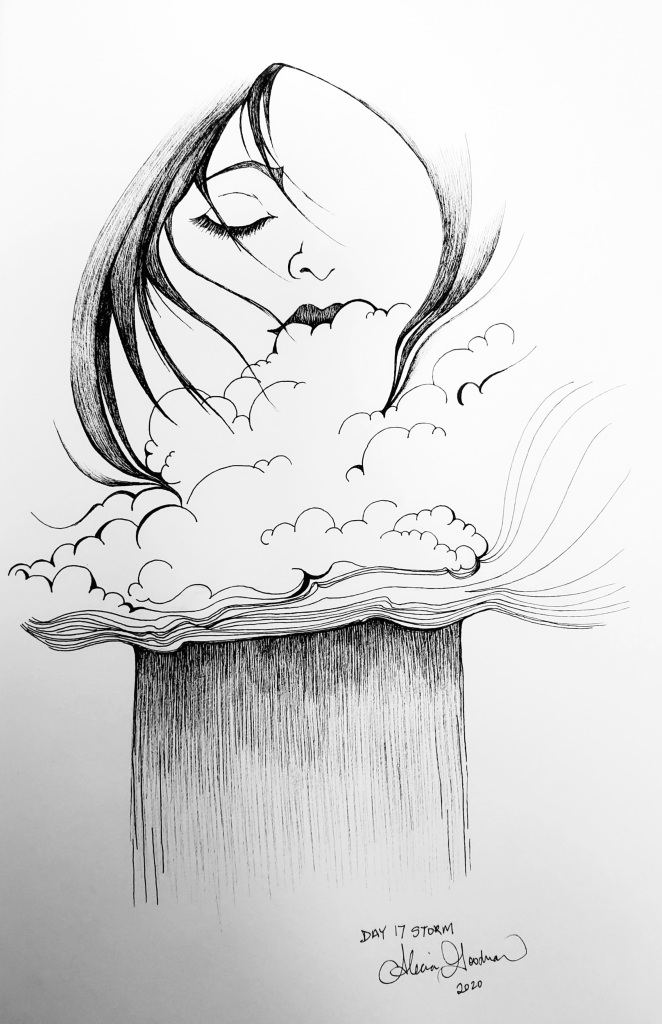 Inktober Day 17 Storm with woman face in clouds raining by alecia goodman 2020 to present