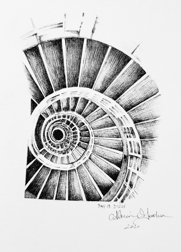 Inktober Day 19 Dizzy ink drawing spiral staircase by alecia goodman 2020 to present