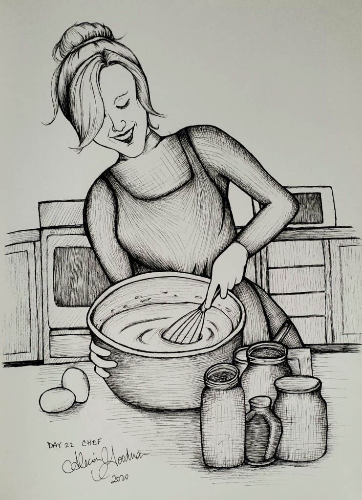 Inktober Day 22 Chef mixing batter ink drawing by alecia goodman 2020 to present