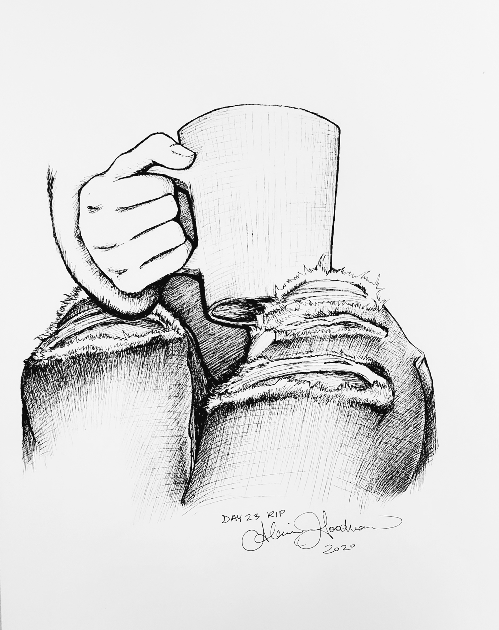 Inktober Day 23 Ripped jeans with hand holding coffee mug ink drawing by alecia goodman 2020 to present