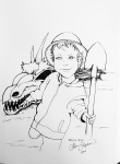 Inktober Day 24 Dig dragon skull with a boy holding a shovel ink drawing by alecia goodman 2020 to present