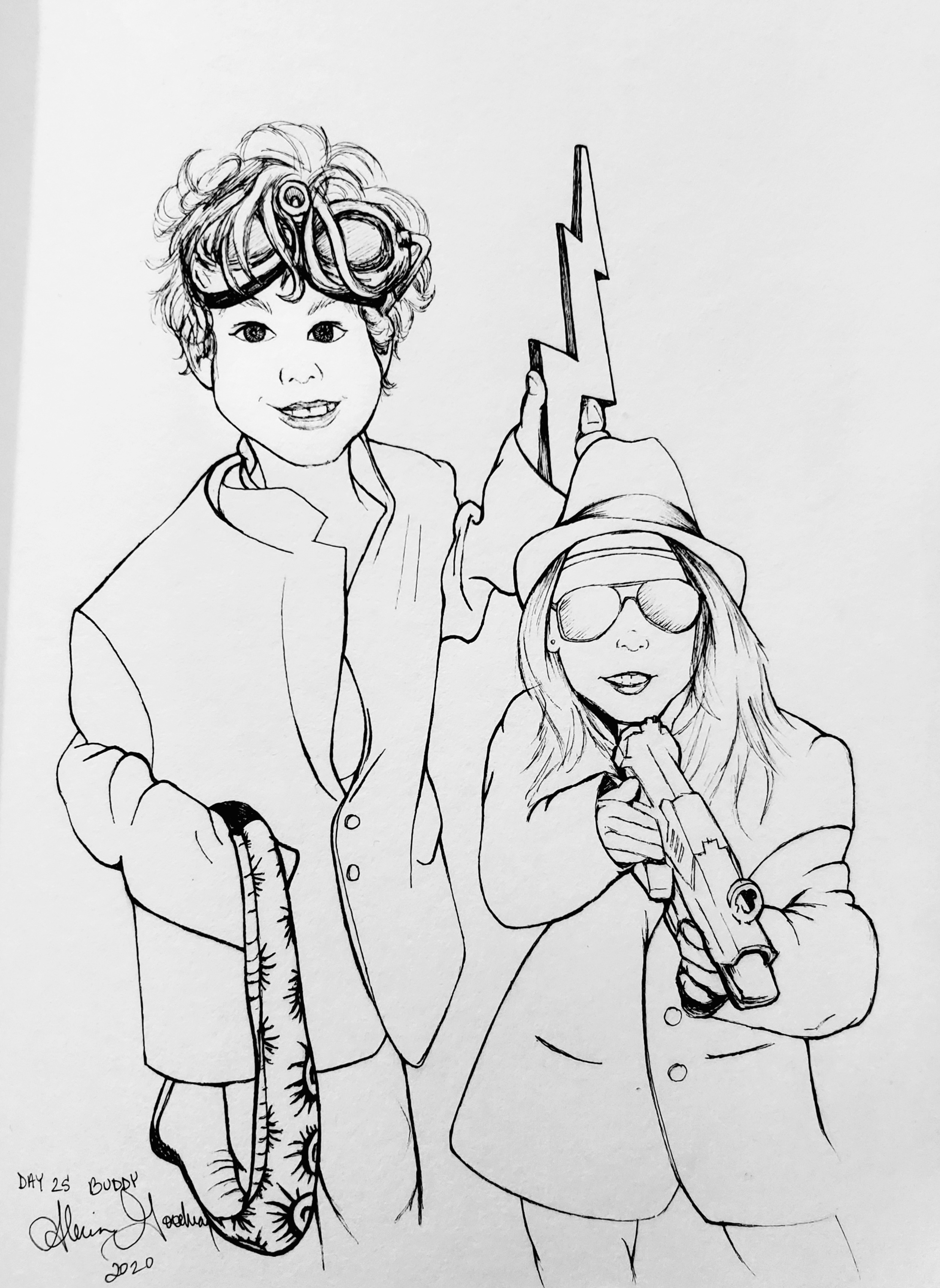 """Inktober Day 25 Buddy ink drawing of boy with goggles and snake and girl with fedora, sunglasses, and nerf gun both wearing suit jackets alecia goodman to present"