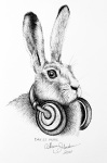 Inktober Day 27 Music ink drawing of hare wearing headphones around neck by alecia goodman 2020 to present