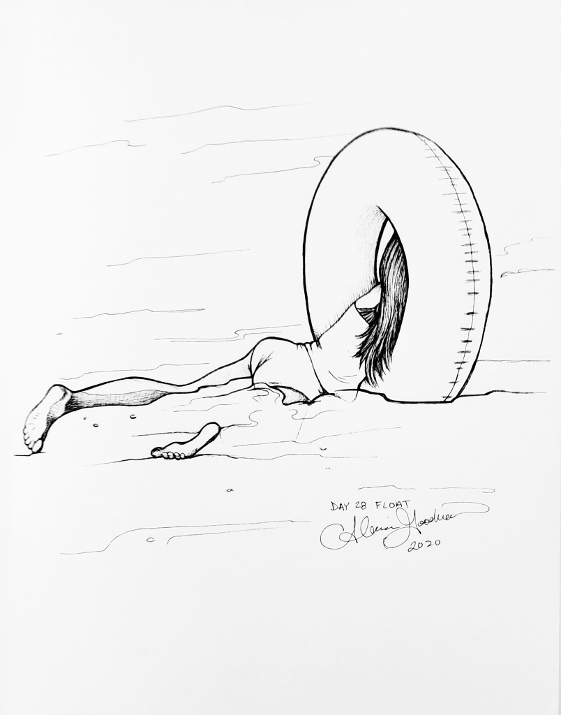 Inktober Day 28 Float ink drawing of girl with inner tube held vertically with her upper body through hole by alecia goodman 2020 to present