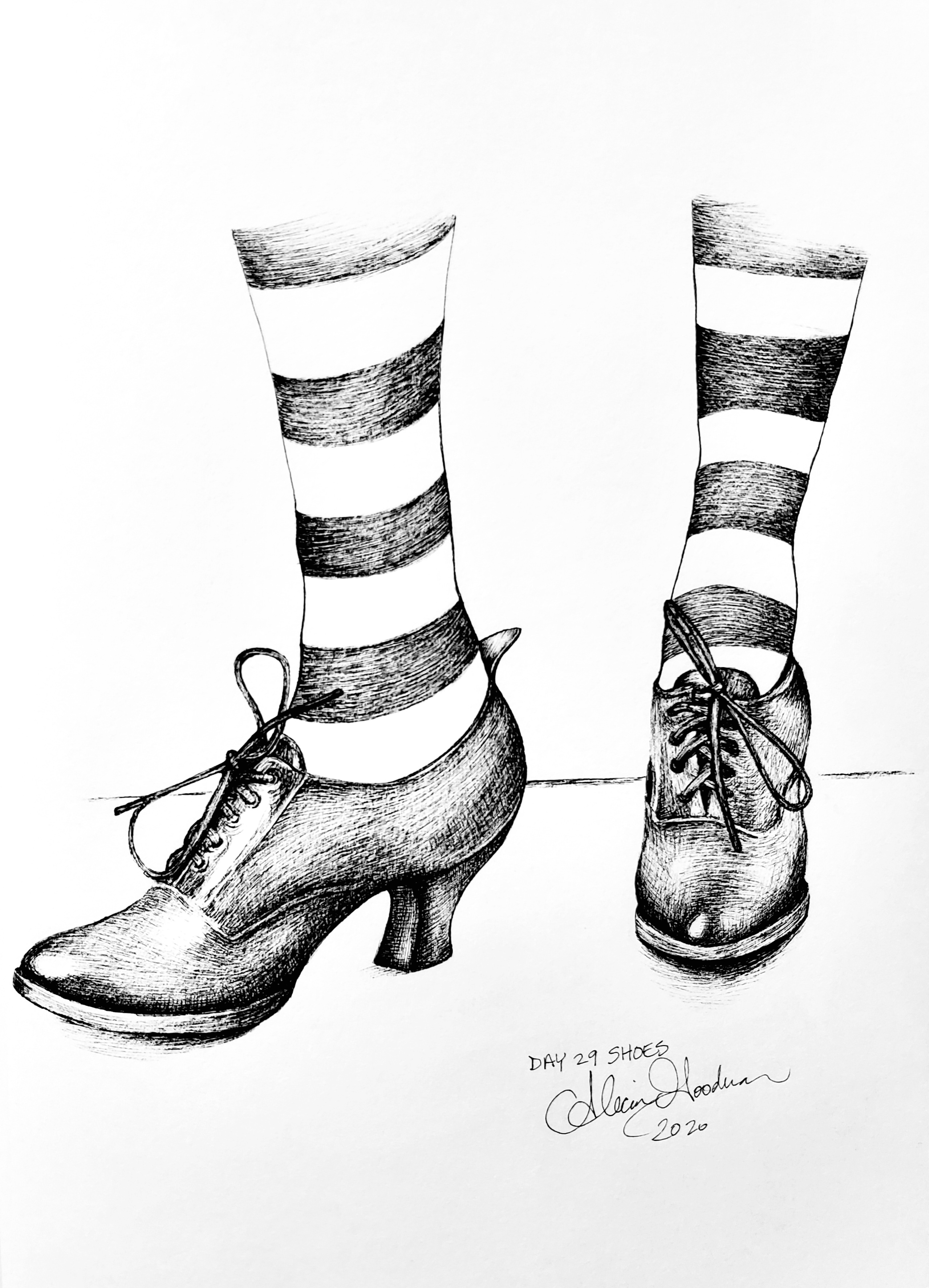 Inktober Day 29 Shoes ink drawing witch shoes with striped stockings by alecia goodman 2020 to present