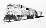 Inktober Day 31 Crawl ink drawing of train engines and cars by alecia goodman 2020 to present