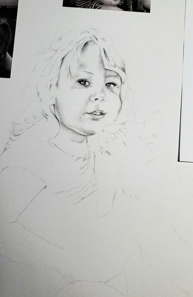 Portrait drawing of toddler being kissed by cat by alecia goodman copyright 2021 to present