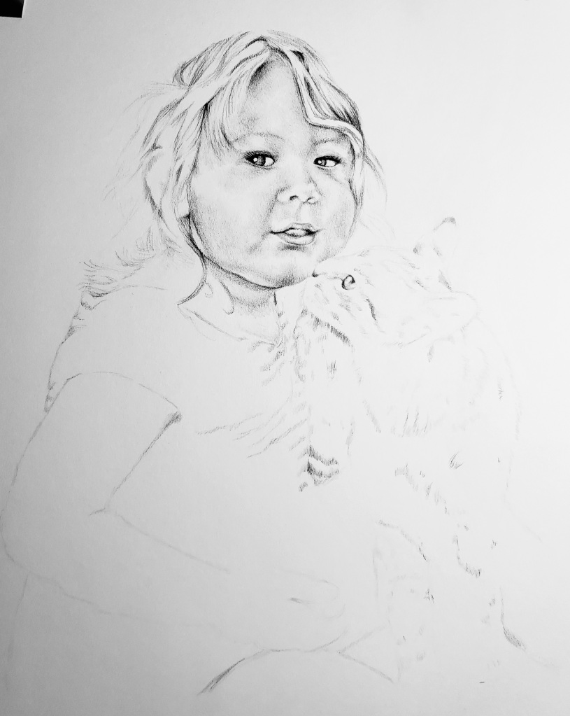 Toddler girl kissed by cat pencil drawing by alecia goodman copyright 2021 to present