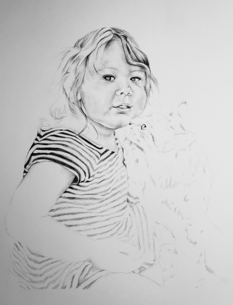 Toddler girl kissed by tabby cat pencil drawing by alecia goodman copyright 2021
