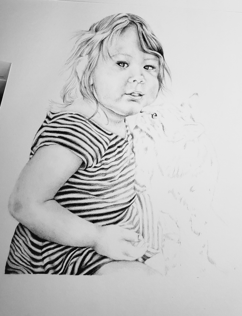 Pencil drawing portrait toddler girl being kissed by tabby cat copyright 2021 by alecia goodman to present