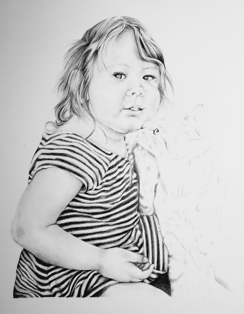 Pencil drawing by alecia goodman copyright 2021 to present of toddler girl in striped dress getting kissed by gray tabby cat