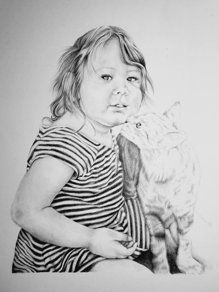 Pencil drawing by alecia goodman copyright 2021 to present of toddler girl kissed by gray tabby cat