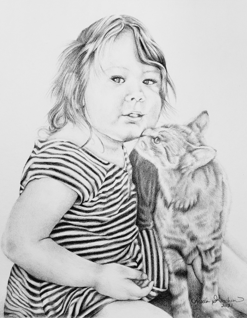 Pencil drawing by alecia goodman copyright 2021 to present of toddler girl in striped dress being kissed by gray tabby cat