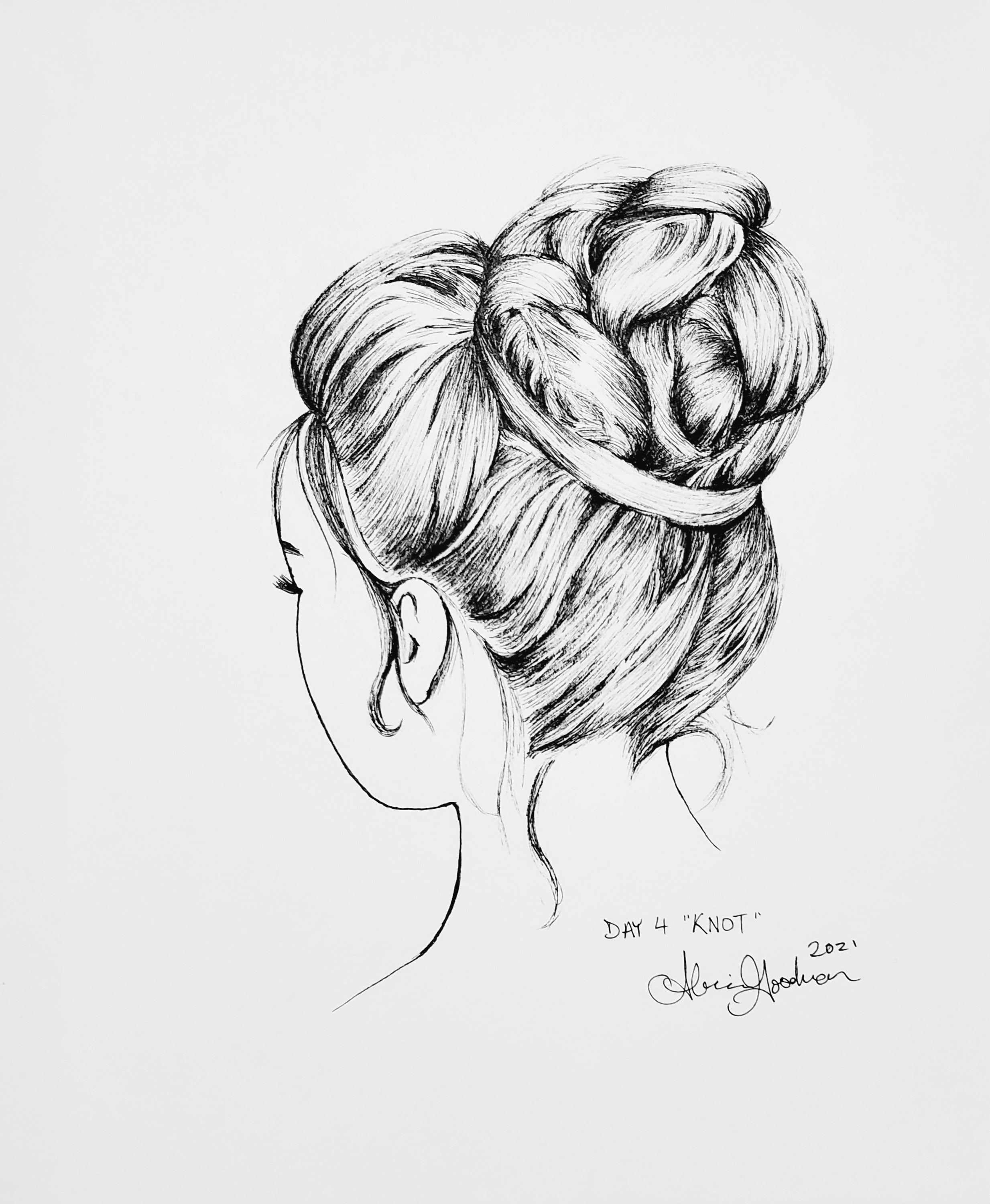 Woman from back with intricate bun ink drawing by alecia goodman copyright 2021 to present
